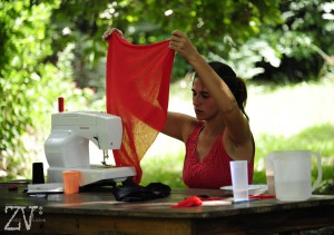 Azul making costumes for her street performance*