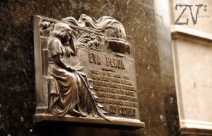 The way to find Eva Peron's tomb is to find this little sign of remembrance.. *