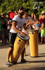 Leading the drumming at Puerto Madero*